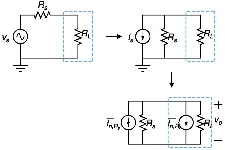 Figure 1 Noise Comtion Of Resistive Load Norton Equivalent Representation Circuit For Calculation
