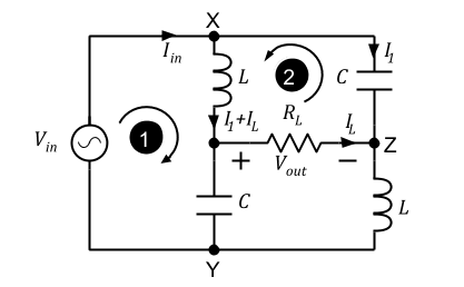 Figure 2. Discrete LC balun redrawn with floating (no ground connection)